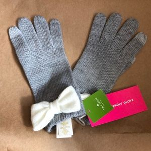 Kate Spade Colorblock Bow Touch Gloves Grey